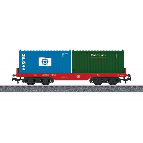 קרון שטוח עם מטען מכולות של רכבת גרמנית (DB AG)