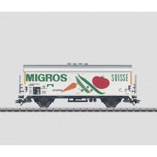 """קרון קירור של הרכבת הגרמנית (DB), בבעלות פרטית של רשת סופרמרקטים שוויצרית  """"Migros"""""""